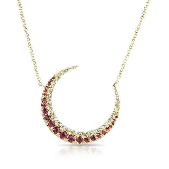 14KT Yellow Gold Ruby Lunar Diamond Necklace