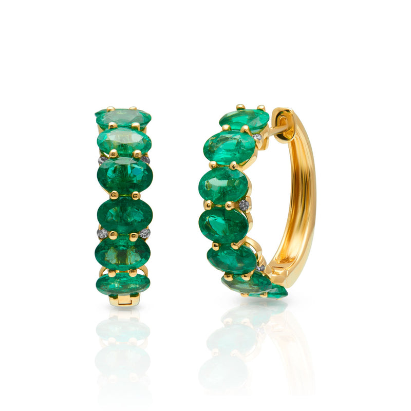 14KT Yellow Gold Emerald Diamond Ameka Earrings