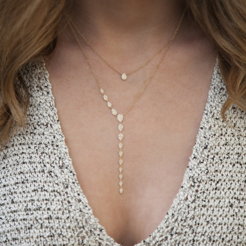 14KT Rose Gold Diamond Pear Droplets Flirt Lariat Necklace
