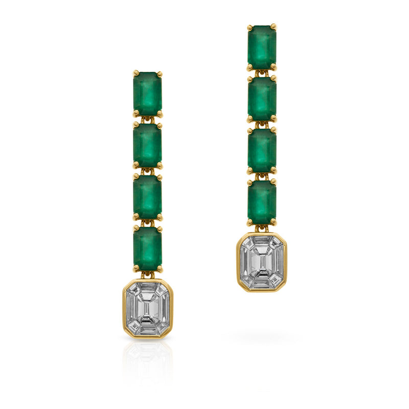 18KT Yellow Gold Baguette Diamond Emerald Drop Earrings