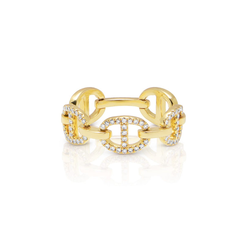 14KT Yellow Gold Diamond Raven Chain Link Ring