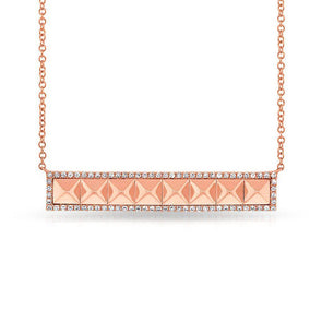 14KT Rose Gold Diamond Pyramid Bar Necklace