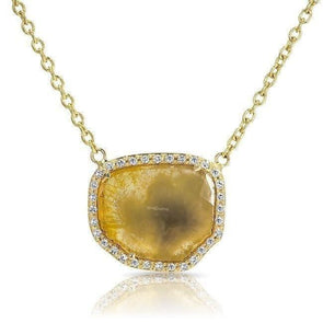 14KT Yellow Gold Canary Diamond Slice Necklace