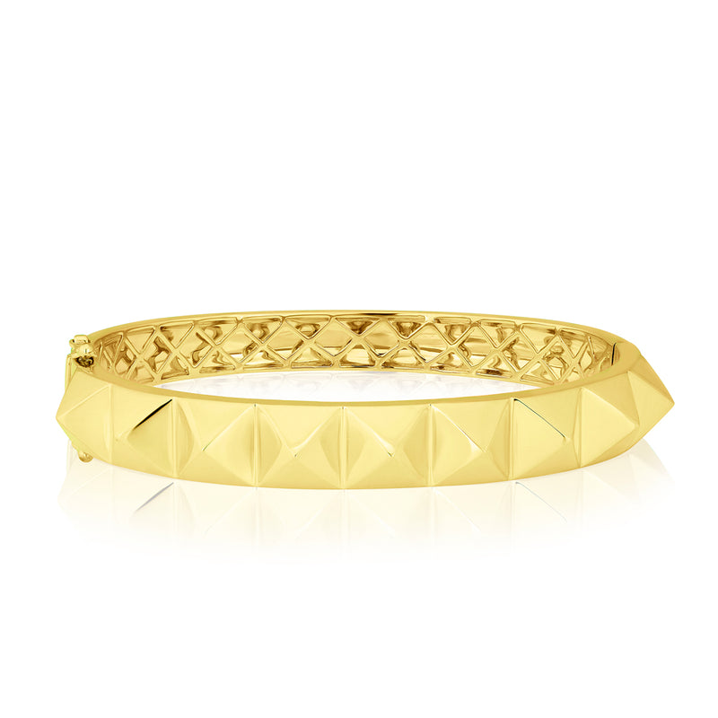 14KT Solid Yellow Gold Harlow Spike Bangle Bracelet