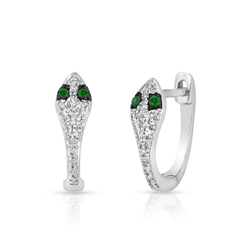 14KT White Gold Diamond Emerald Snake Huggie Earrings