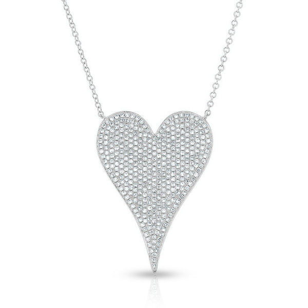 14KT White Gold Diamond Large Modern Pave Heart Necklace