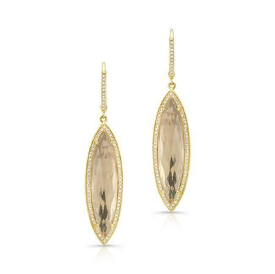 14KT Yellow Gold Diamond White Topaz Serena Marquis Earrings