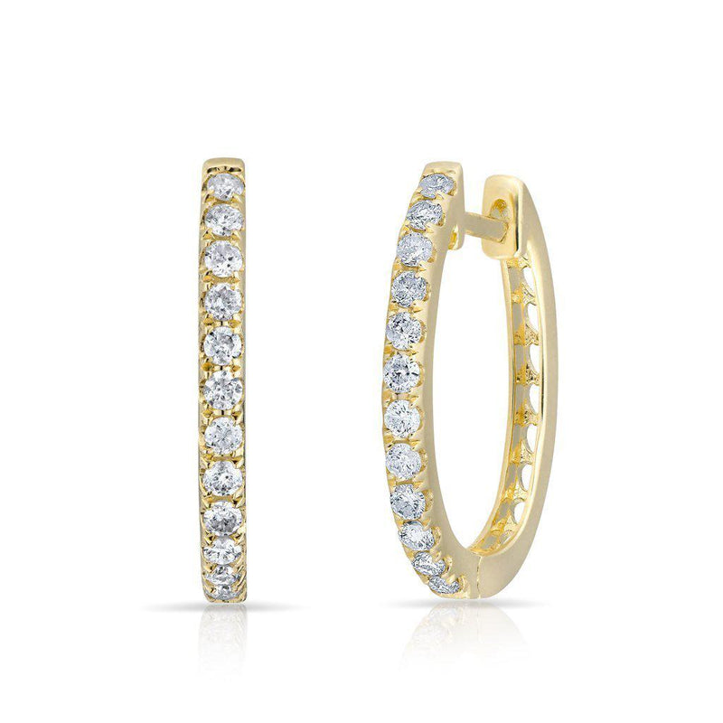 14KT Yellow Gold Diamond Marie Hoops