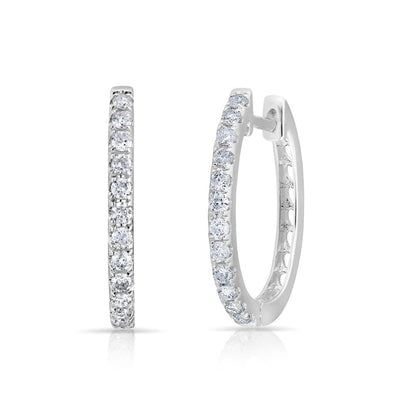 14KT White Gold Diamond Marie Hoops