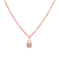 14KT Rose Gold Diamond Nicolette Lock Necklace