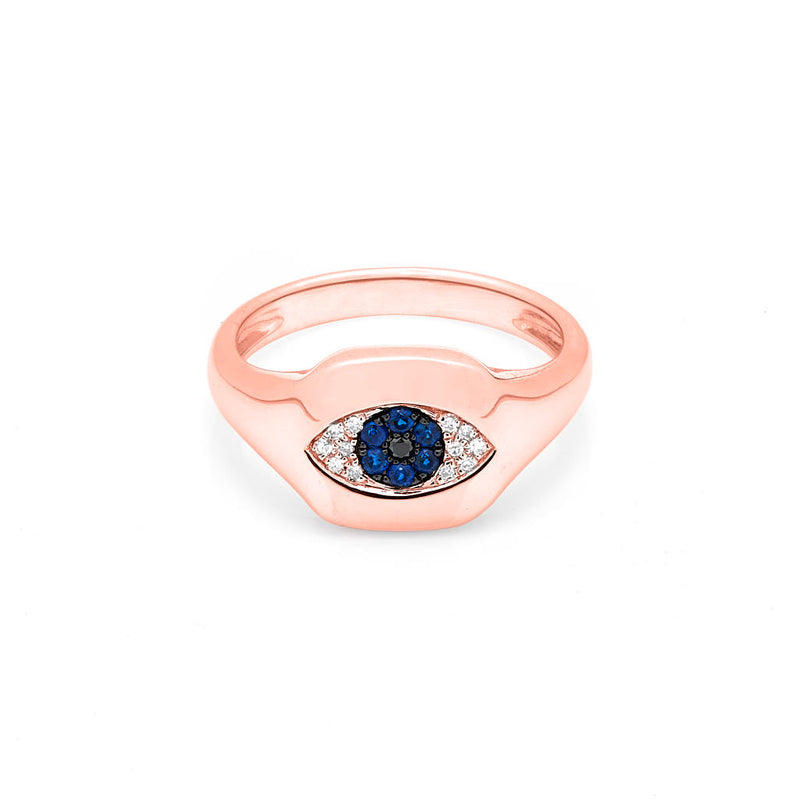 14KT Rose Gold Diamond Sapphire Evil Eye Pinkie Ring