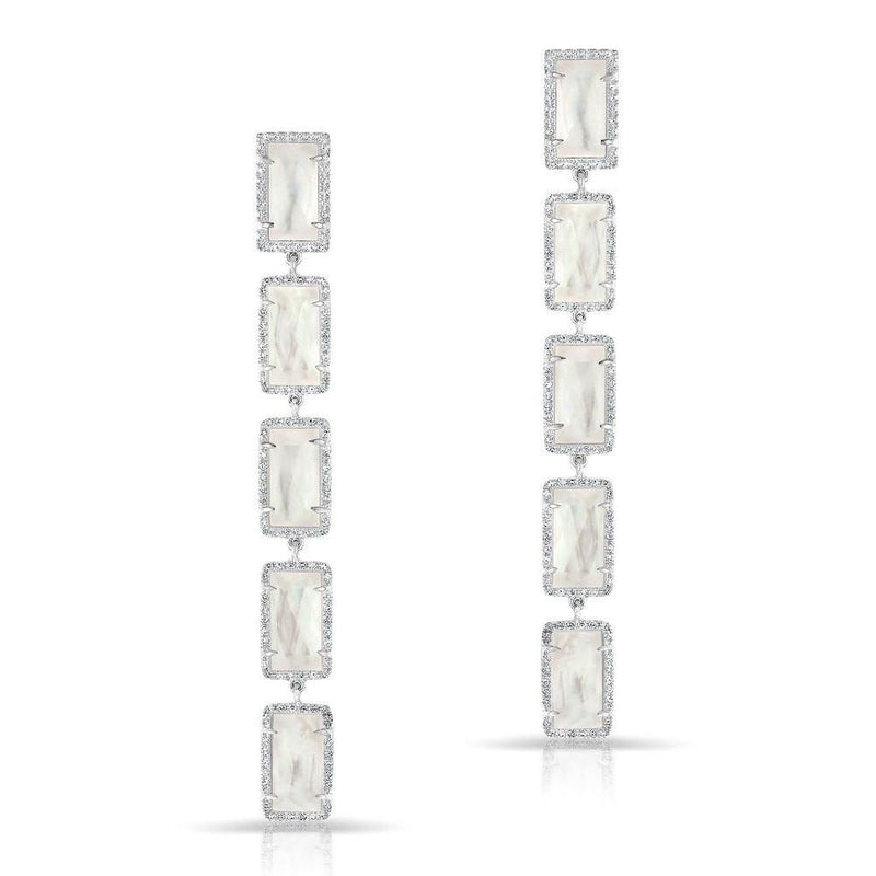 14KT White Gold Mother of Pearl Diamond Five Rectangle Drops Shandi Earrings