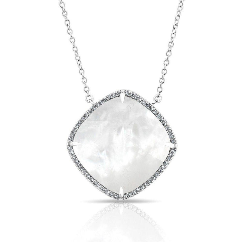 14KT White Gold Diamond Mother of Pearl Laguna Necklace