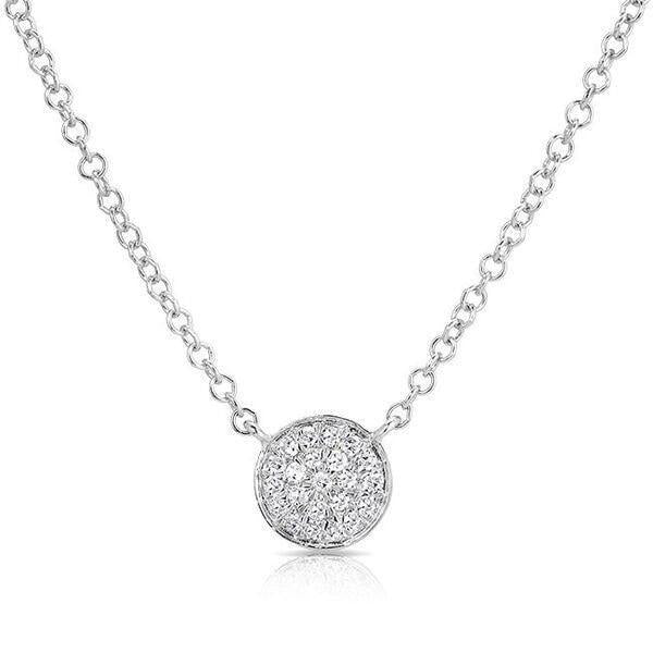14KT White Gold Diamond Mini Disc Necklace