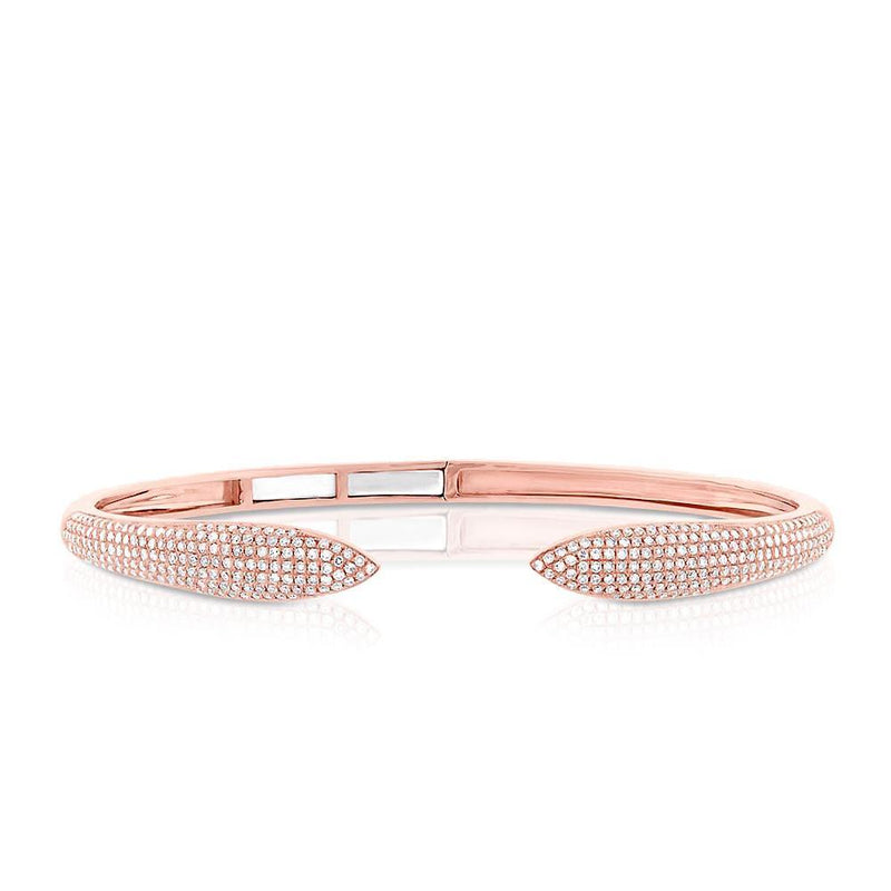 14KT Rose Gold Diamond Horn Bangle