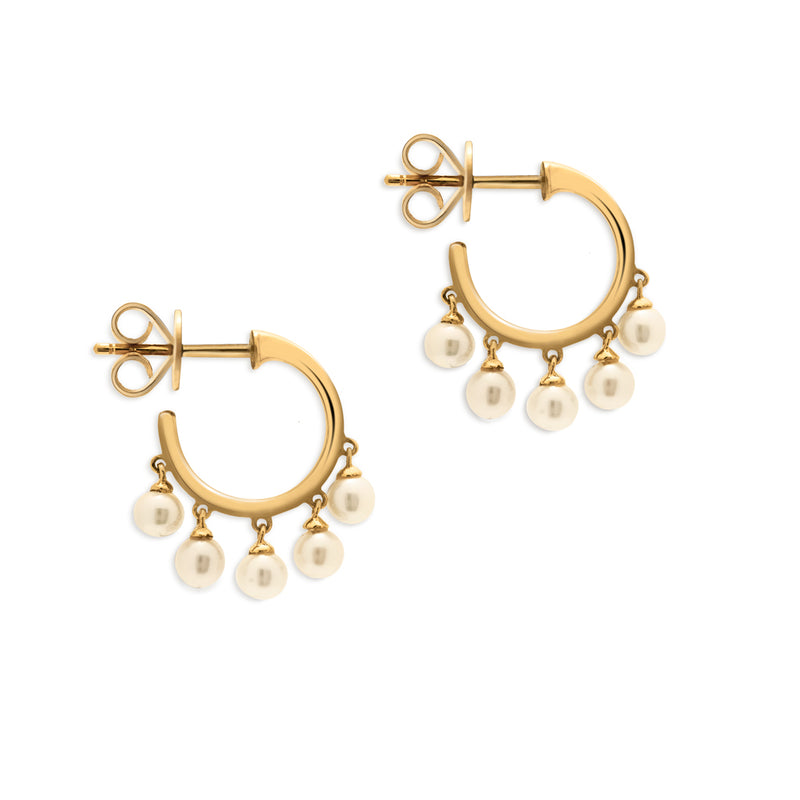 14KT Yellow Gold Dangling Pearl Mini Hoop Earrings