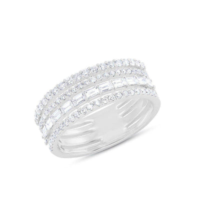 14KT White Gold Diamond Baguette Eternity Ring