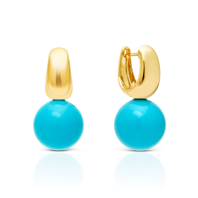 14KT Yellow Gold Huggie and Turquoise Gumball Earrings