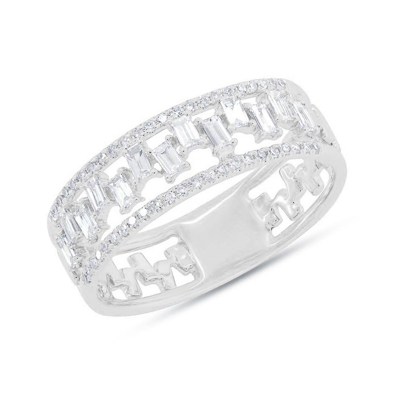 14KT White Gold Baguette Diamond Lorelei Ring