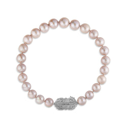 14KT White Gold Diamond Grey Pearl Alexandria Necklace
