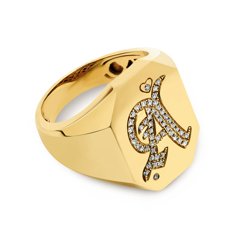 14KT Yellow Gold Diamond Initial Signet Ring