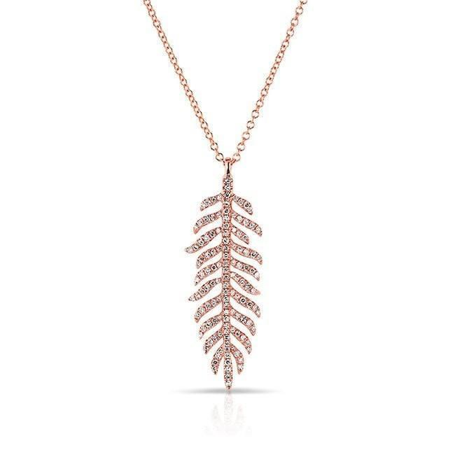 14KT Rose Gold Diamond Palm Necklace