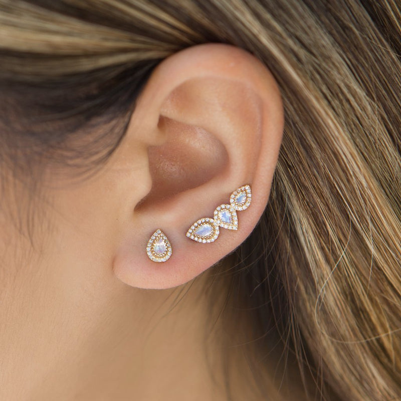 14KT Yellow Gold Diamond Moonstone Stud and Climber Set Valis Earrings-Anne Sisteron
