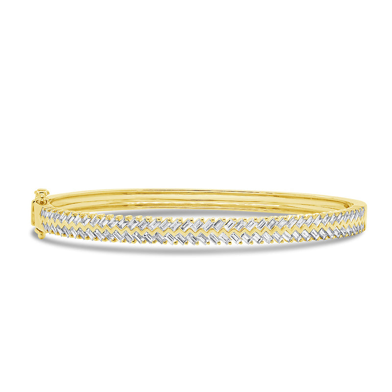 14KT Yellow Gold Baguette Diamond Celine Bangle Bracelet