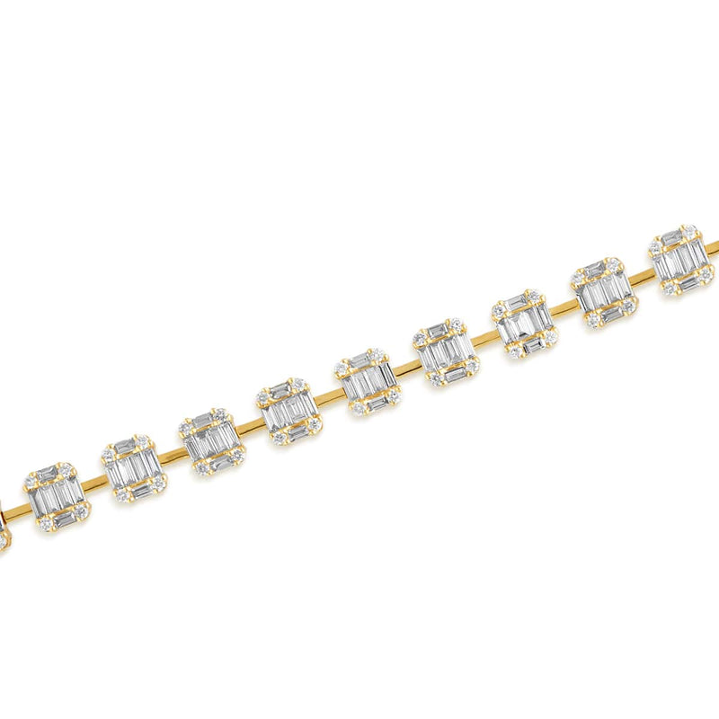 14KT Yellow Gold Baguette Diamond Astor Bracelet