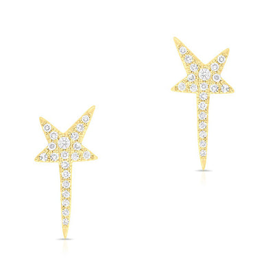 14KT Yellow Gold Diamond Star Wand Earrings