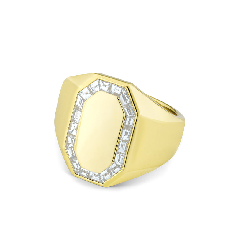 14KT Yellow Gold Baguette Diamond Alina Signet Ring