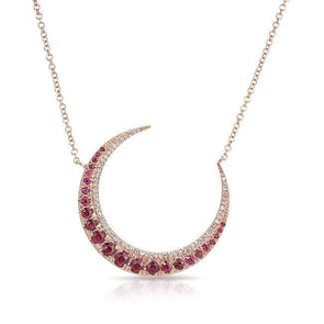 14KT Rose Gold Ruby Lunar Diamond Necklace