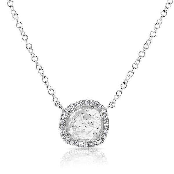 14KT White Gold Diamond Slice Necklace