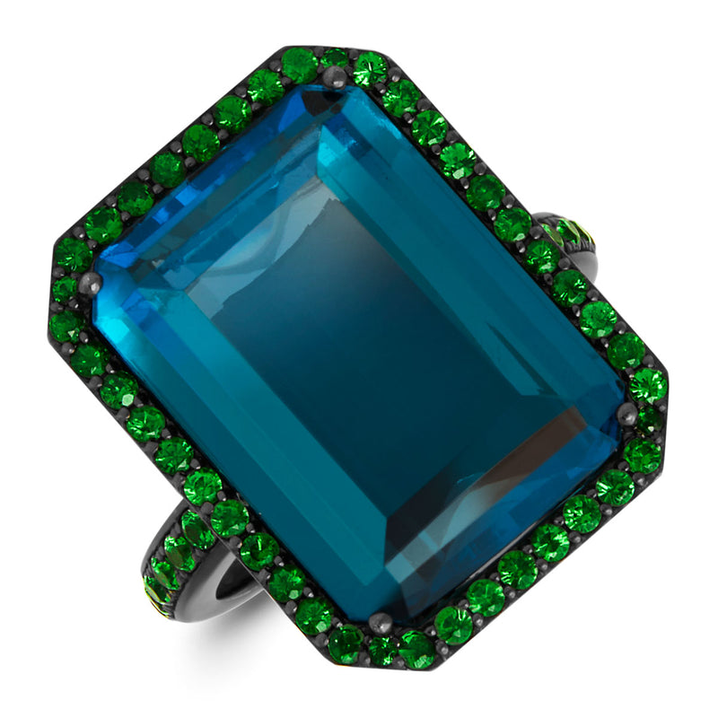 18KT White Gold London Blue Topaz Tsavorite Luciana Ring