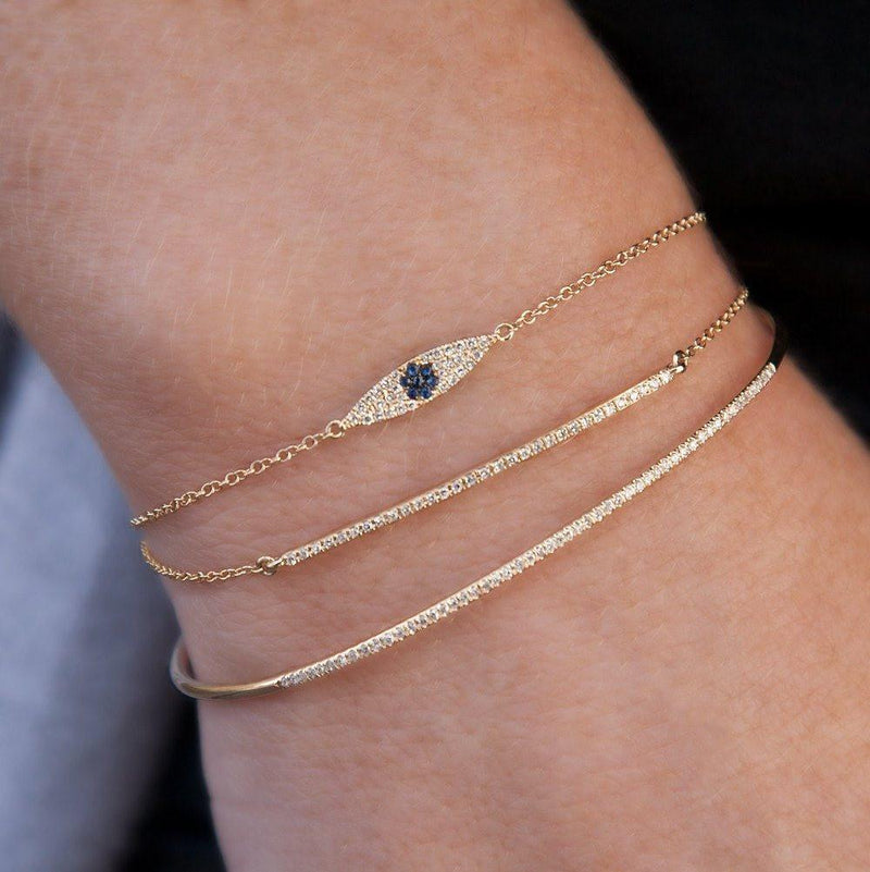 14KT White Gold Sapphire Diamond Sleek Evil Eye Chain Bracelet