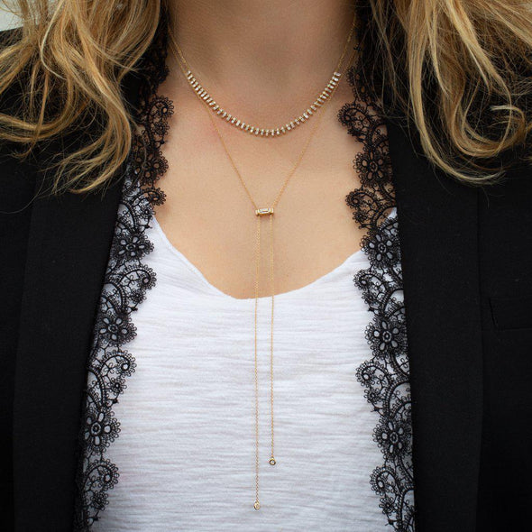 14KT Rose Gold Diamond Bolo Topaz Necklace