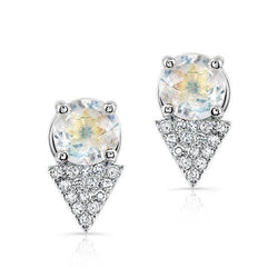 14KT White Gold Moonstone Diamond Maddie Stud Earrings
