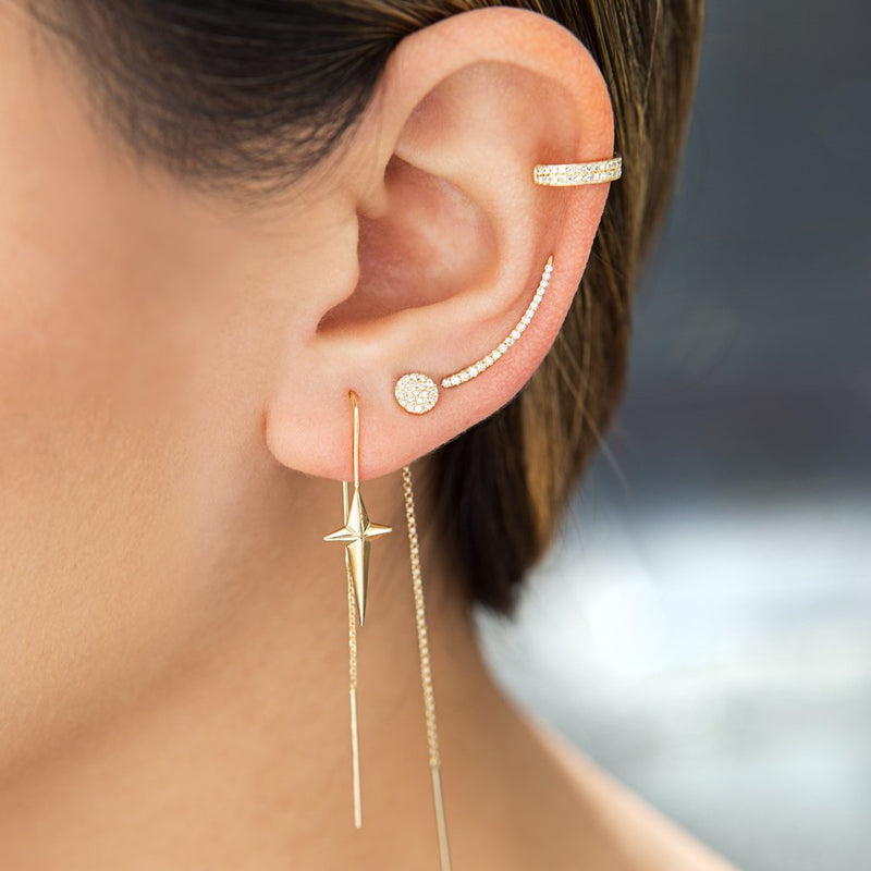 14KT Yellow Gold Diamond Lash Ear Climber