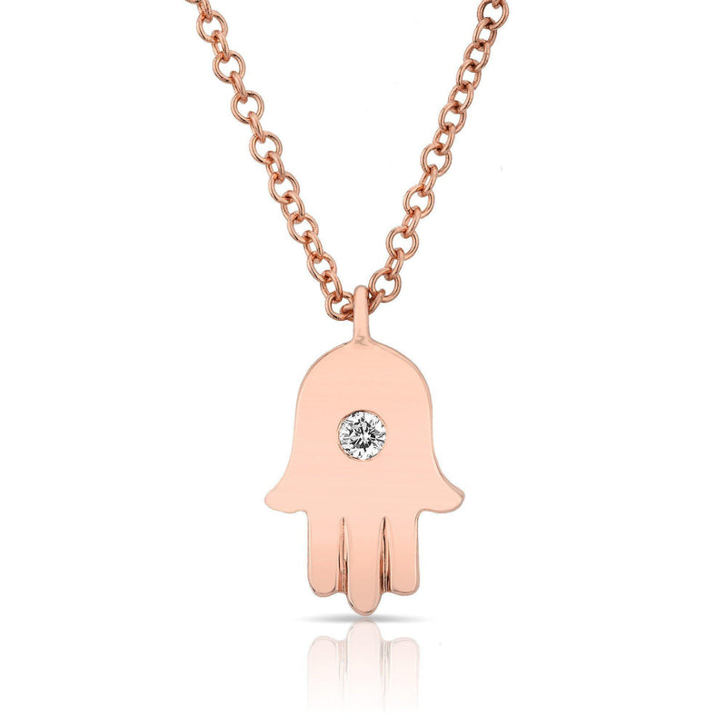 14KT Rose Gold Solitaire Diamond Hamsa Necklace