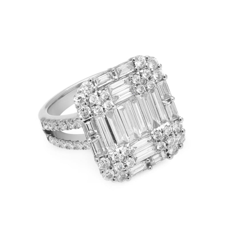 14KT White Gold Baguette Diamond Renata Ring