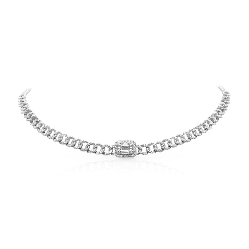 14KT White Gold Baguette Diamond Nikolina Necklace