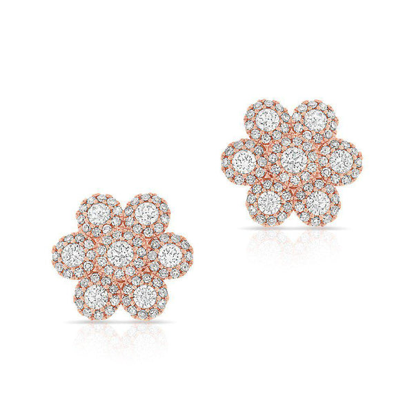 14KT Rose Gold Diamond Abigail Flower Earrings