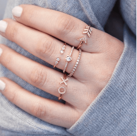 14KT Rose Gold Diamond Arrow Ring