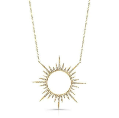 14KT Yellow Gold Diamond Open Sunburst Necklace