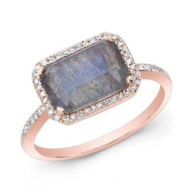 14KT Rose Gold Labradorite Diamond Chic Ring