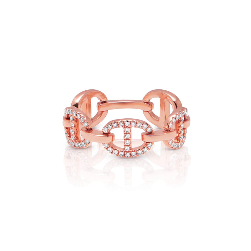 14KT Rose Gold Diamond Raven Chain Link Ring
