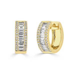 14KT Yellow Gold Baguette Diamond Elle Huggie Earrings