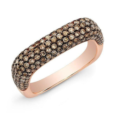 14KT Rose Gold Champagne Diamond Square Ring