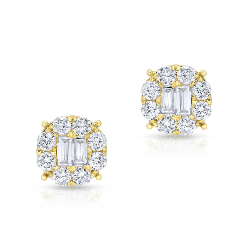 14KT Yellow Gold Diamond Baguette Larissa Stud Earrings
