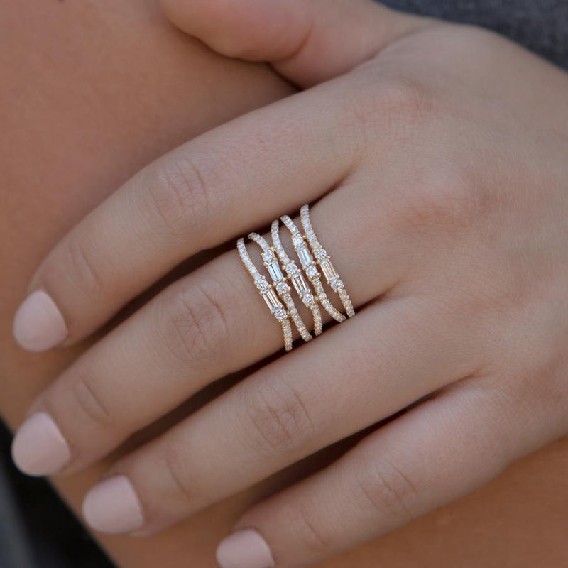 14KT White Gold Diamond Baguette Stacked Ring-Anne Sisteron